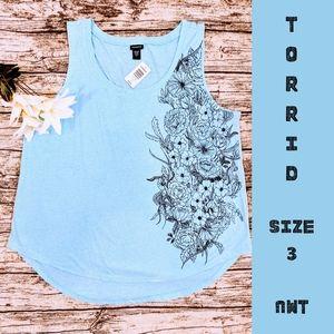 NWT Torrid Blue Floral Tank Top Size 3 22/24